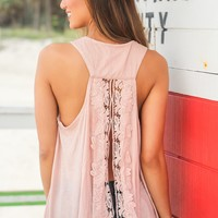Blush Tank Top with Crochet Back