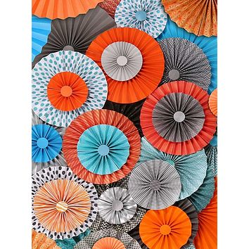 Pinwheel Rosettes Orange Teal Gray Circus Carnival Backdrop - 2438
