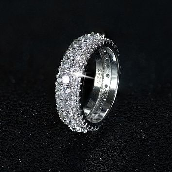 2019 New design 925 sterling silver wedding band eternity Ring for Women solid engagement anniversary fashion jewelry LR4577S+
