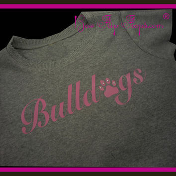 Team Name Shirt Spirit Wear School Girls Custom Design own Colors Bulldogs Sports Sparkle Bling Team Name Birthday Personalized Glitter