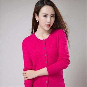 Hot new autumn and winter twist loose Cashmere Cardigan Sweater Slim bottoming Cashmere knit Cardigan