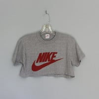1980s NIKE Swoosh HALF SHIRT / Orange tag Heather Gray Crop Top s - m