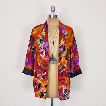 Vintage 80s 90s Orange Abstract Print Blazer Jacket Floral Print Boyfriend Blazer Oversize Blazer Rayon 90s Grunge Jacket S Small M Medium