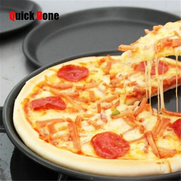 QuickDone 8 inch Round Stainless Steel Pizza Baking Dish Bakeware Pizza Pan Cake Pie Bread Loaf for Microwave Oven CKE02