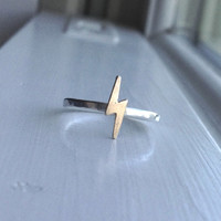 Sample Sale, Gold Lightening Bolt Ring, Sterling Silver Stacking Ring, On Sale, Size 6 Ring, Sterling Silver Jewelry