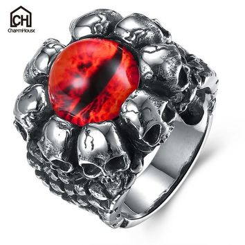 Antique Evil Eye Male Ring with Red Yellow Stone Big Size Vintage Titanium Steel Skull Rings Fashion Jewelry Punk Accessories