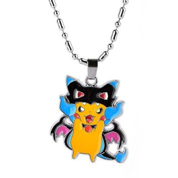 5 Style Anime Cartoon Pokemon Go Pikachu Necklace Metal Figures Pendants Necklace Costume Props Collectible for Boys Girls