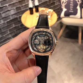 DCCK C032 Cartier Fashion Square Hollow Automatic Machinery Leather Watchand Watches Black Rose Gold