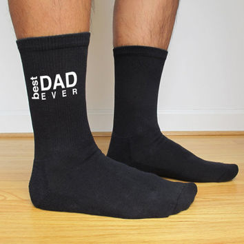 Custom Printed Socks for Fathers Day Best Dad Ever - Sold as a set of 3 pairs