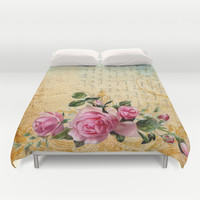 Vintage Roses #6 - Pretty Beautiful Flowers Floral Duvet Cover by Juliana RW