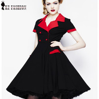 Big Swing Women Summer Style Dresses black Retro Vintage 50s Casual Party Rockabilly Dress plus size Vestidos Femininos D510308 Alternative Measures - Brides & Bridesmaids - Wedding, Bridal, Prom, Formal Gown