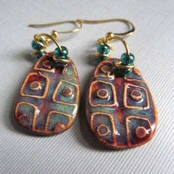 Geo Handmade Artisan Ceramic Raku-like Clay Bead Earrings SRA