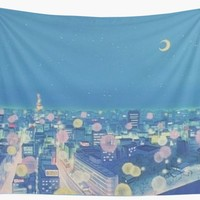 'Sailor Moon Background City at Night' Wall Tapestry by Freshfroot