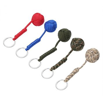 550 paracord keychain Survival Lanyard outdoor Climbing Rope Carabiner key Chain Ring Fist Knot High Strength Steel Ball
