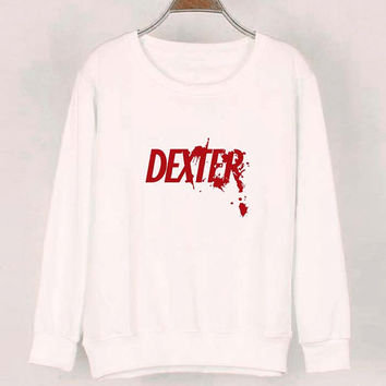 dexter sweater White Sweatshirt Crewneck Men or Women for Unisex Size with variant colour