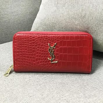 YSL Fashion New Texture Leather Leisure  Wallet Purse Women Red