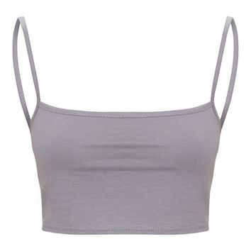 Charcoal Grey Jersey Square Neck Crop Top