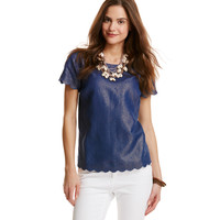 Shimmer Linen Scallop Top