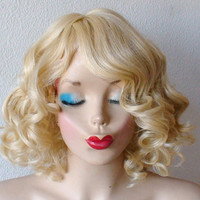 Blonde wig. Bright Golden Blonde wig. Pure blonde short curly hair  wig.  Long side bangs Heat resistant synthetic wig.