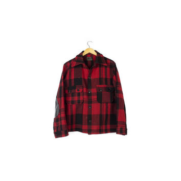 50s Chippewa Wool Flannel Shirt / Red & Black Lumberjack / vintage 1950s buffalo plaid hunting jacket /  mens size medium
