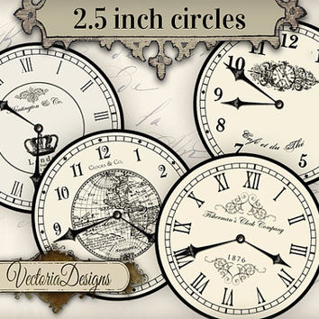 2.5 inch Vintage Clock images with without handles instant download digital collage sheet VD0680