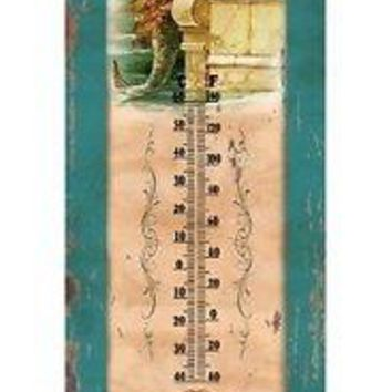 Outdoor Garden Wall Thermometer Tin Vintage Mermaid Home Art Decor Hotel Yard
