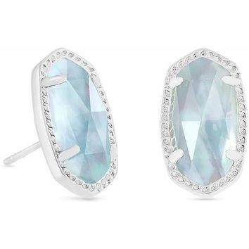 Kendra Scott: Ellie Silver Stud Earrings In Light Blue Illusion