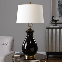 Uttermost Cosia Gloss Black Table Lamp