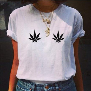 Printed retro leaves pure color T-shirt