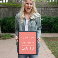 OAHU Vacation Wall Poster | Gift Idea | HopSkipJumpPaper