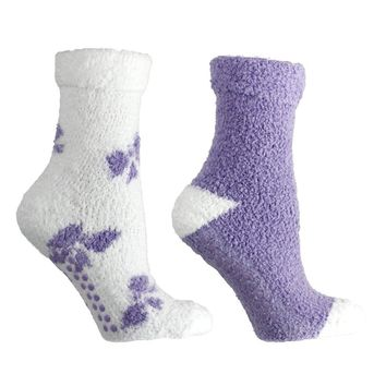2 Pair Fluffy Socks — Bows — Lavender Infused