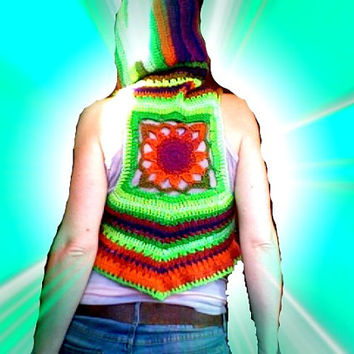 Crochet hooded neon vest with sunflower motif, crochet flower mandala vest, pixie vest top, boho festival summer vest