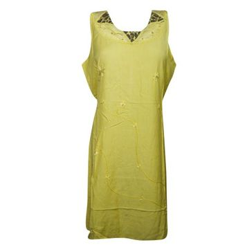 Mogul Womens Tank Dress Yellow Embroidered Sleeveless Cover Up Beach Dress Rayon Comfy Sundress - Walmart.com