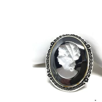 Hematite Glass Cameo Brooch Pendant, Large High Relief Goth Gothic Cameo, Filigree Silver Tone White Enamel Setting, Victorian Style Cameo