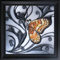 Hand Painted Leather Art Wall Decor Picture, Wooden Frame, Hand Painted Butterfly, Acrylic Paste Relief Background, Unique Wall Hanging