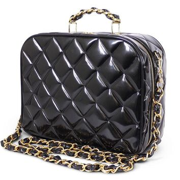 Chanel Black Patent 2way Lunch Box Crossbody Bag Rare