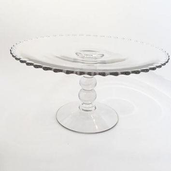 Vintage Candlewick Cake Stand, Imperial Candlewick 3 Ball Beaded Stem Cake Stand,