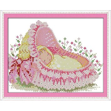 The baby in the cradle, counted printed on fabric DMC 14CT 11CT Cross Stitch kits,embroidery needlework Sets, Home Decor