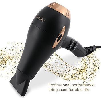 Asavea hair dryer Pro AC motor ionic, ceramic fast 1875W long life blow dryer (Black)