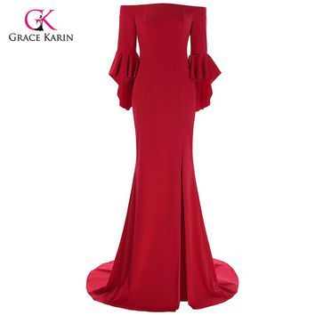 Grace Karin Red Evening Dress 2018 Boat Neck High Slit Ruffle Sleeves Floor Length Formal Evening Gowns Special Occasion Dresses