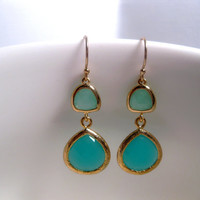Mint Green Raw Triangle Over Turquoise Drop Earrings With 14k Gold