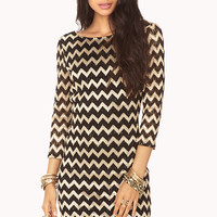 Metallic Zigzag Bodycon Dress
