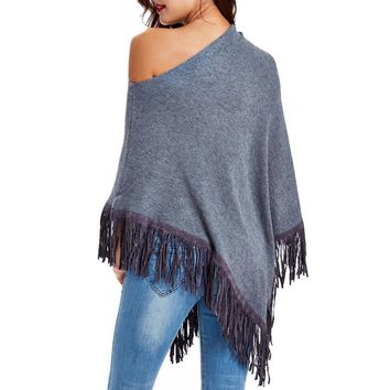 Knit Tops Irregular Tassels Scarf Strapless Sweater [11275919879]
