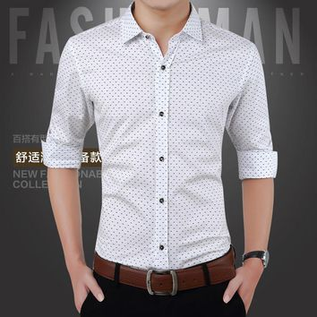Men's Long Sleeved Dress Shirt Social Clothing Cotton Slim Fit Smart Casual Business Leisure Chemise