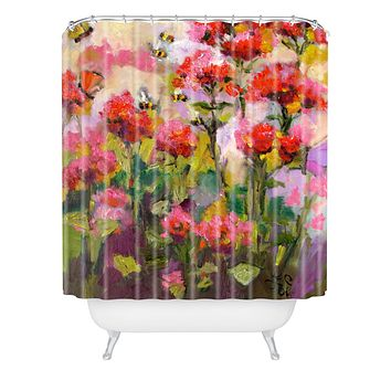 Ginette Fine Art Bee Balm And Bees Shower Curtain