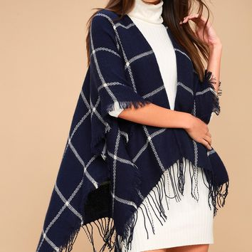Bundle Up Navy Blue Plaid Poncho