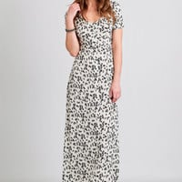 Falling Feathers Printed Maxi Dress