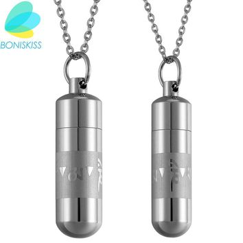 Boniskiss Men's Open Capsule Necklace Perfume Bottle Om Mani Padme Hum Buddhism Stainless Steel Bullet Pendants For Lover Gift