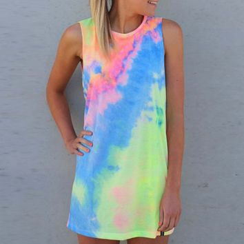 Sleeveless tie-dyed dress
