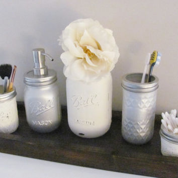 Bathroom Mason Jars, Shabby Chic Bathroom Decor, Distressed Painted Jars, Set of 5, Bathroom Decor, Rustic Bathroom, Country Bathroom Set